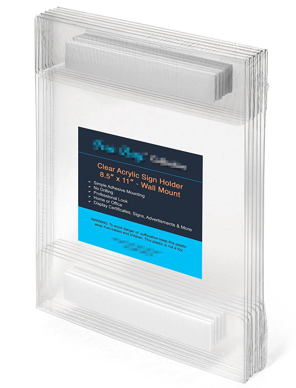 """Details about  /21.6cmw X 11 /"""" H Wandhalterung Klar Fenster Zeichen Plexiglas Acryl Bild Rahmen"""