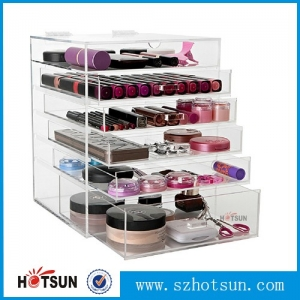 12 years Factory wholesale crystal clear 6 drawer acrylic makeup organizer (welcome test order)