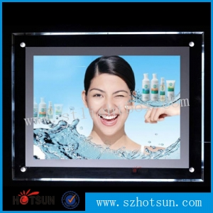 2015 hot sale product Acrylic display hanging led window picture frame