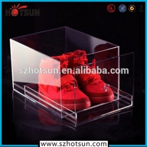 2015 hotsale acrylic shoe display box plexiglass shoe box wholesale