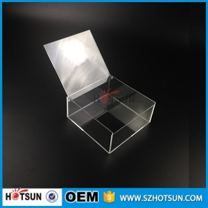 2016 customized small clear acrylic boxes with lids