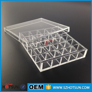 25 divisions clear acrylic box with cover lid multi-compartments transparent plastic box
