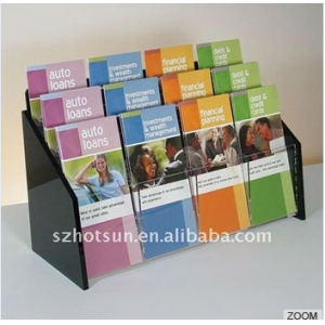3 Tiers Acrylic Magazine Newspaper Display Rack / Stand
