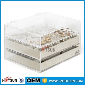 Acrylic 3 Drawers Jewelry Organizer Display Chest with Gray Compartment Trays