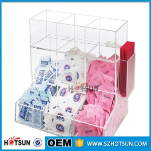 Acrylic paper cup dispenser coffee pack bag holder display perspex counter top cup lid dispenser