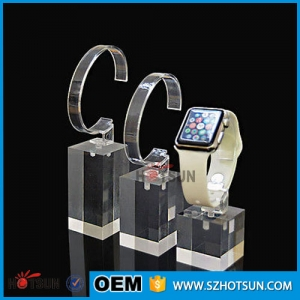 Acrylic single Smart watch display rack with C rings