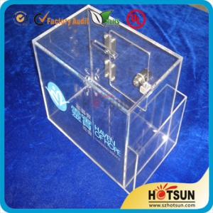 Clear Acrylic Ballot Box / Suggestion Box with Sign Holder