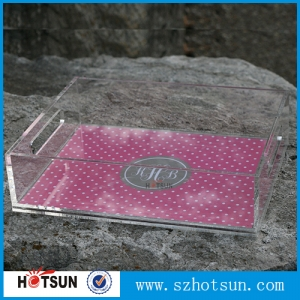 Alibaba China insert paper perspex tray lucite plexiglass clear acrylic tray with insert
