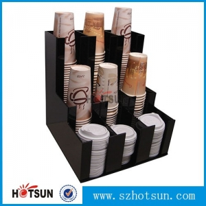 Black Acrylic Coffee Cup Dispensers and Lid Holders,Display Racks Supplier Coffee Mug Holder