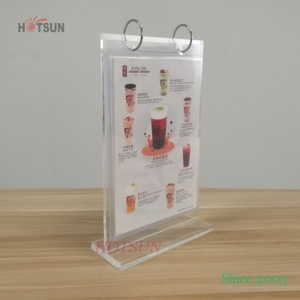 China Factory A5 Menu Holder Acrylic Flip Menu Holder with PVC Sleeves Acrylic Table Tent