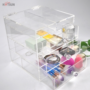 China Factory Clear Acrylic Makeup Organizer Storage Box with Drawer