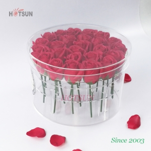 China Factory Good Quality 25PCS Clear Rounded Acrylic Flower Box with Cover Lid Acrylic Rose Box Acrylic Storage Box for Flowers