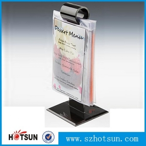 China Shenzhen acrylic table stand menu holder, T shape sign holder manufacturer