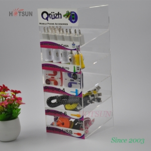 China Supplier Customize 5 Tiers Cell Phone Accessory Display Acrylic Mobile Phone Accessory Display Stand