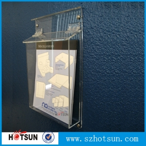China supplier A4 clear outside acrylic brochure holder out door plexiglass brochure stand with cover lid