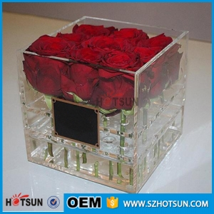 China supplier clear plexiglass flower box acrylic rose bin transparent acrylic flower box with lid