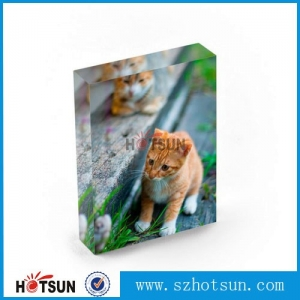Clear Acrylic logo block, acrylic photo block wholesale