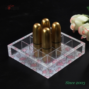 Counter top 16 Compartments Clear Acrylic Box Tray for Lipsticks