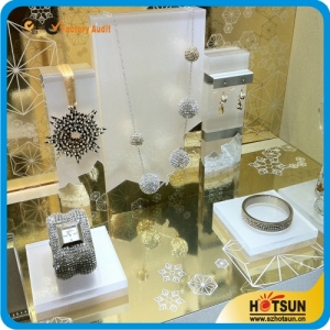 Counter top frosted jewelry display set acrylic jewelry display stand acrylic block for jewelry