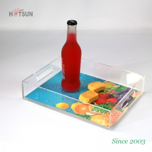 Custom 8.5x11 Inches Insert Serving Tray UV Printing Logo Clear Acrylic Serving Tray with Handle