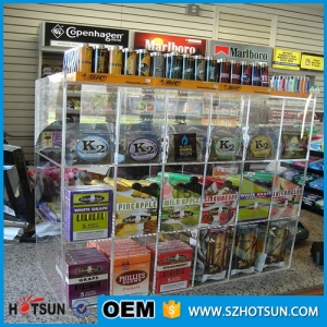Custom Cigarette Shop 3 Tier Acrylic Large Cigarette Display Cabinet