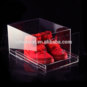 Custom clear acrylic shoe box with drawer plexiglass shoe box