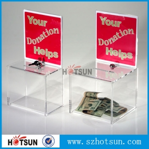 clear acrylic donation money box With lock and key