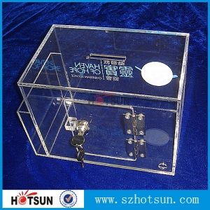 Custom design clear acrylic donation money box With lock