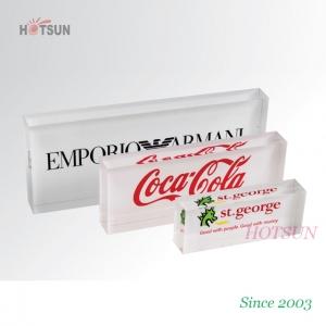 Clear acrylic logo block with silk screen logo printing for Large acrylic block