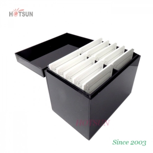 Customized Black Color Acrylic Eyelash Organizer with Cover Lid Dustproof with 10pcs Eyelash Extension Pallets