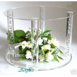 Customized high quality assembled acrylic/plexiglass cake display stand