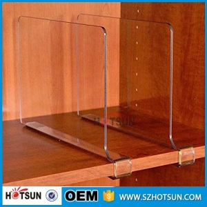 Factory wholesale clear acrylic shelf divider