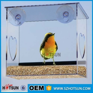 Factory wholesale custom acrylic window bird feeder, transparent hanging wild bird feeder