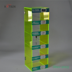 Green Color 5 Tiers Acrylic Cell Phone Accessory Display Stand