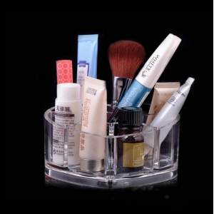 Heart shaped clear cube custom design acrylic makeup organizer