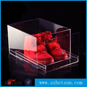 High end drawer type clear acrylic shoe box