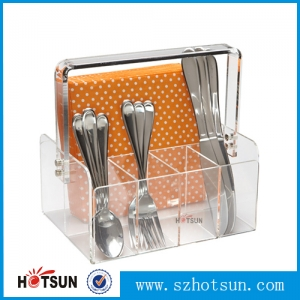 High quality clear acrylic organizer basket for tableware plastic tableware organizer for restaurant with handle