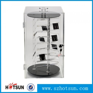High quality counter top acrylic display box, rotating plexiglass display case, acrylic display stand with lock and key