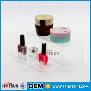 Hot sale custom retail 2 tier clear acrylic nail polish display rack,acrylic stair step display,plexiglass display