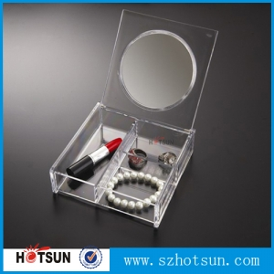 JY1027M clear acrylic cosmetic box with mirror plastic makeup boxes
