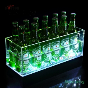 LED Lighting Up 12 Bottles LED Acrylic Ice Bucket for Wine or Beer LED Chilly Bin