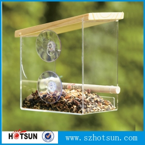 Large acrylic Window Bird Feeder with 3 Heavy Duty Suction Cups/Best sell acrylic plastic bird feeder