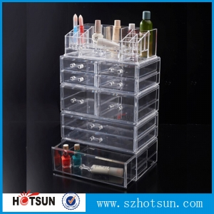 Large space JY2193 acrylic makeup organizer plastic cosmetic storage box