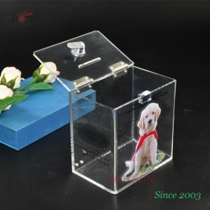 Lockable Clear Acrylic Donation Box with Metal Hinges