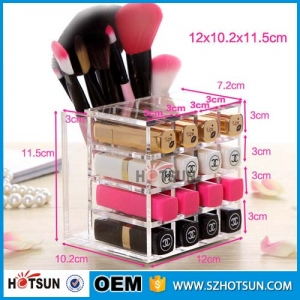 Mini cosmetic plexiglass display acrylic makeup storage box for lipstick holder