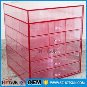 Pink color acrylic makeup storage drawers box