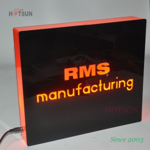 Wall Hang Orange and Black LED Light Box Acrylic Material LED Bar Sign
