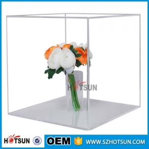 Wholesale clear cube square acrylic box with lid for single flower