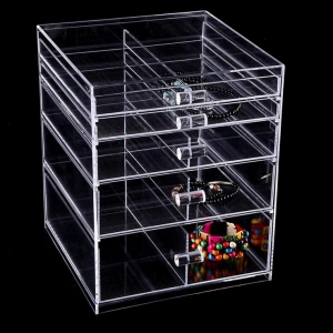 Yageli Hot sale good quality 5 drawer clear handle acrylic makeup organizer