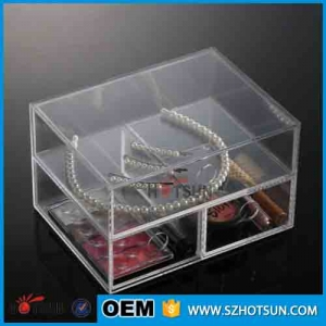 acrylic jewelry & cosmetic storage display boxes with 3 drawers